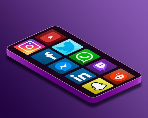 Значки логотипа социальных сетей на экране телефона 3d Premium Фотографии