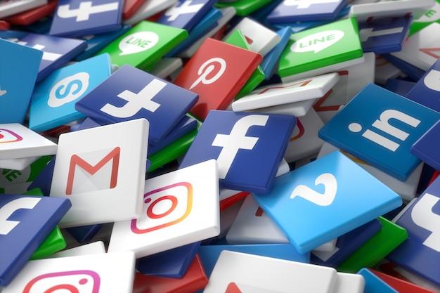 Social media networking  app random 3d icons Premium Photo