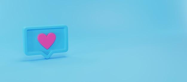 Значок уведомлений в социальных сетях, 3d-рендеринг Premium Фотографии