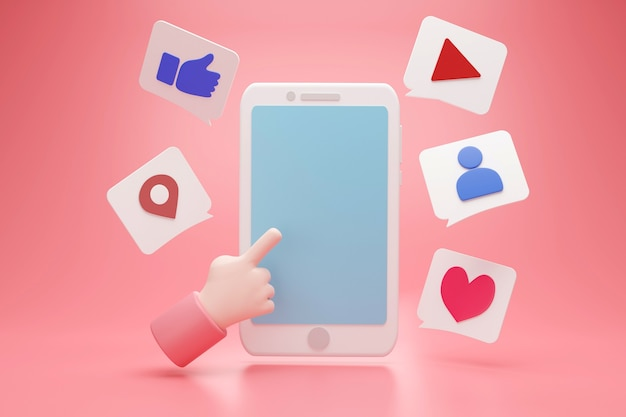 Social media with hand pointing to empty blue display space for text advertising and icon box sign, 3d rendering Premium Photo