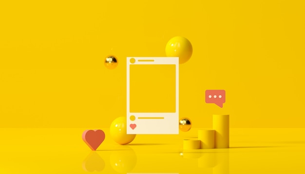 Social media with instagram photo frame and geometric shapes on yellow background illustration. Premium Photo