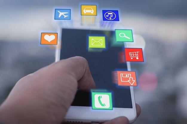 Концепция социальной сети и мобильный Premium Фотографии