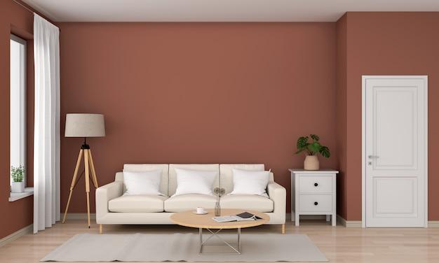 茶色のリビングルーム、3 dレンダリングのソファーとウッドのラウンドテーブル Premium写真