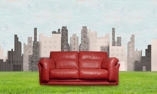 Sofa on the background of city Free Photo