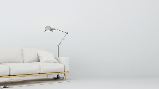 Sofa and floor lamp in living room - 3d rendering Premium Photo