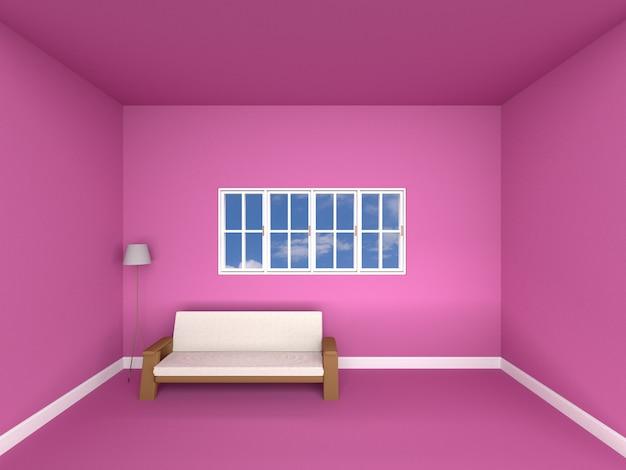 Диван в розовой комнате Premium Фотографии