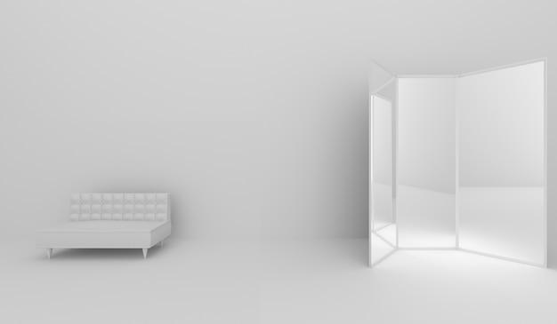 Диван в номере и зеркальном стекле, 3d-рендеринг Premium Фотографии