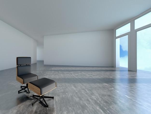 Диван в комнате с тенью окна, 3d-рендеринга Premium Фотографии