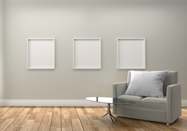 Sofa pillow table lamp and frame, wooden floor and white wall background. 3d rendering Premium Photo