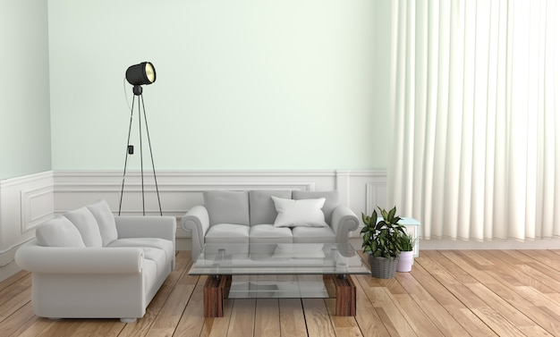 Sofa pillow table lamp and frame, wooden floor on white wall background. 3d rendering Premium Photo