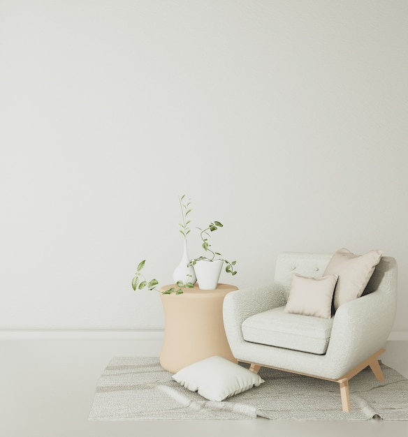 The sofas and chairs in the white room are spacious and have tropical decorations..3d rendering Premium Photo