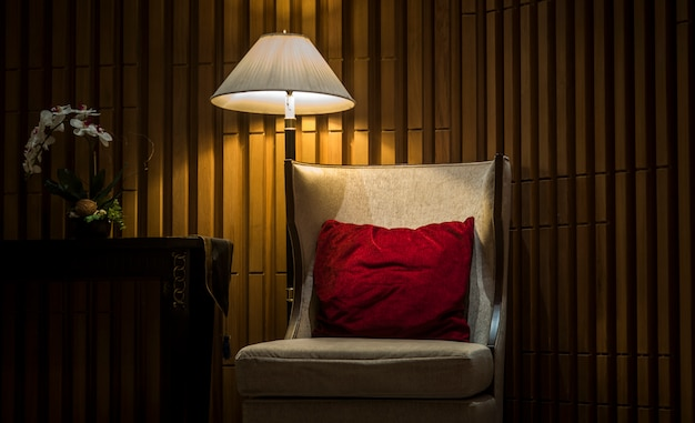 Sofas in luxury hotels with night lights Premium Photo