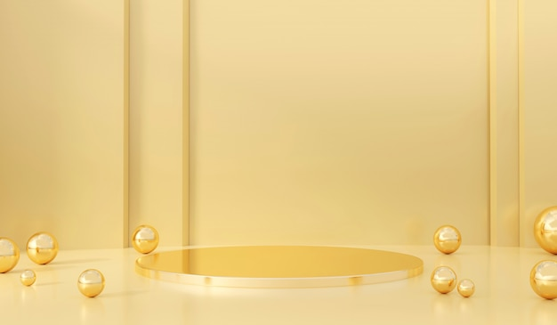 Soft pastel yellow and gold stage product with glass ball present background 3d rendering. Premium Photo