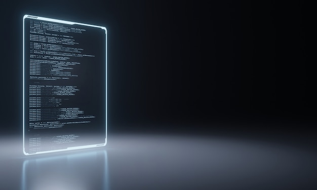 Software source coding panel on metallic floor. Premium Photo