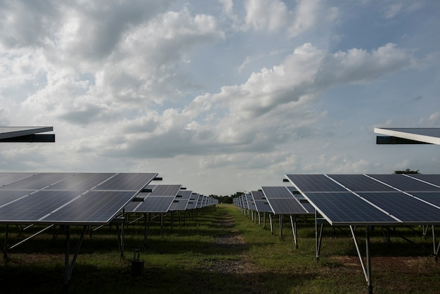 Solar cell farm in power station for alternative energy from the sun Free Photo