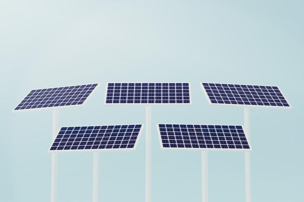 太陽電池産業、クリーンエネルギー電力技術、3 dイラストレーションをレンダリングします。 Premium写真