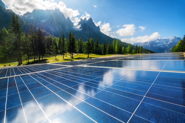 Solar cell panel in country mountain landscape. Premium Photo