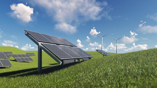 Solar cell and wind turbine on green grass Premium Photo