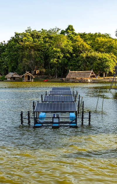 Solar cells in a small resort located in the middle  of the mountains, it is working and useful. Premium Photo