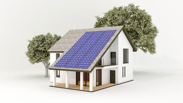 Solar energy system with photovoltaic solar panels on the roof of the house Premium Photo