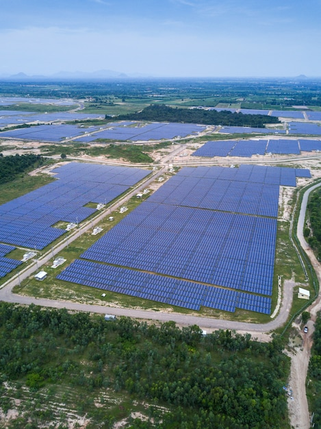 Solar farm, solar panels from aerial, thailand Premium Photo