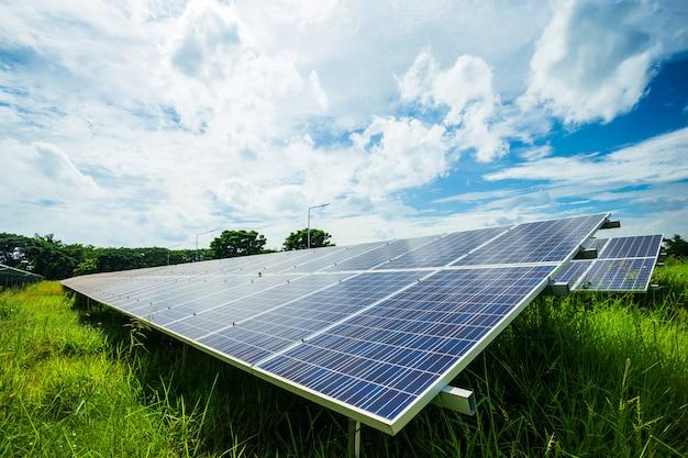 Solar panel on blue sky background, alternative energy concept,clean energy,green energy. Premium Photo