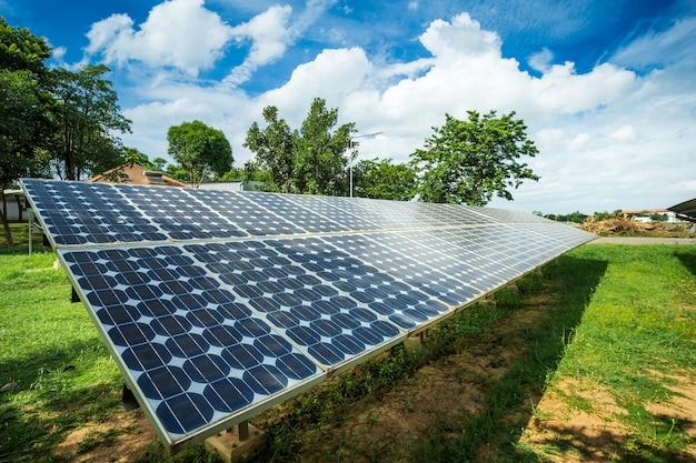 Solar panel on blue sky background Premium Photo