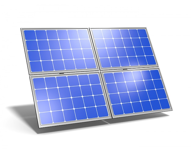 Solar panel blue sky reflection Premium Photo