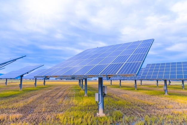 Solar panel on sky background Premium Photo