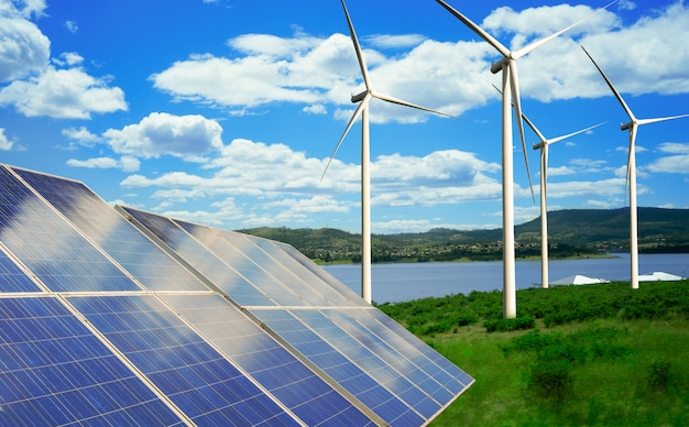 Solar panel and wind turbine farm clean energy. Premium Photo