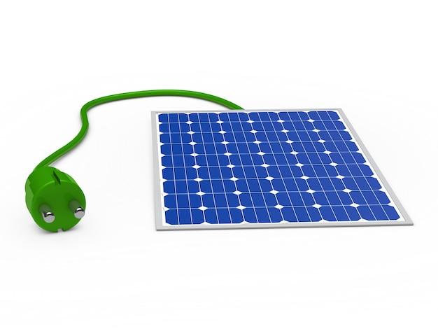 Solar panel with green plug Free Photo