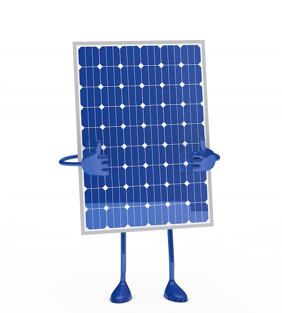 Solar panel with thumbs up Free Photo