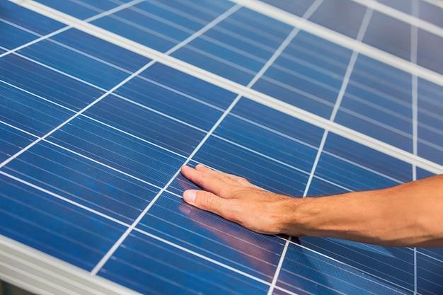 Solar panels on blue sky Premium Photo
