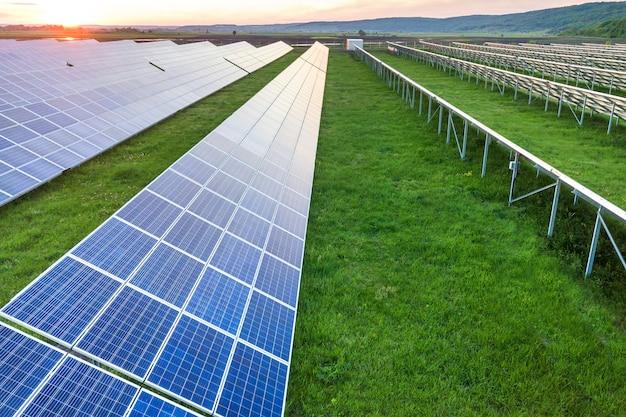 Solar panels system producing renewable clean energy Premium Photo