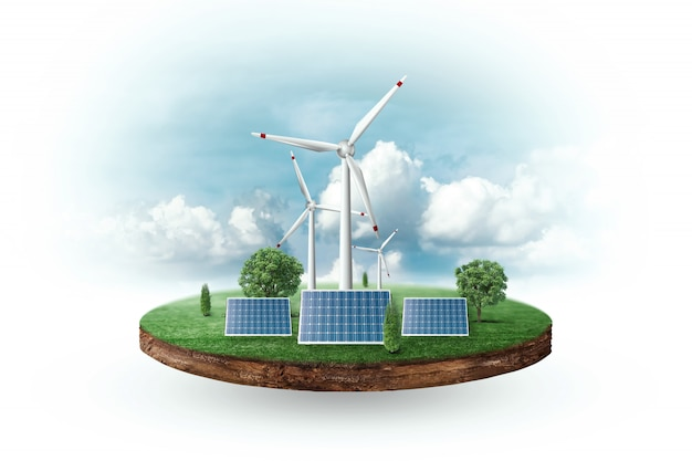 Solar panels and wind turbines in front of the horizon Premium Photo