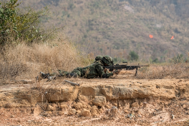 Soldier practice to patrolling Premium Photo