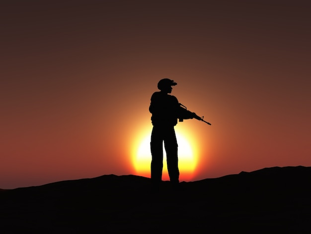 Soldier sihouette design Free Photo