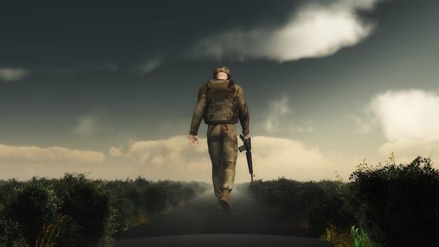 Soldier walking design Free Photo