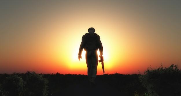 Soldier walking silhouette Free Photo