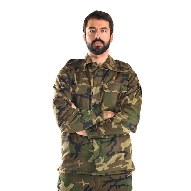 彼の腕を踏んだ兵士 無料写真
