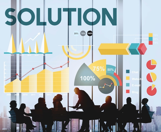 Solution percentage business chart concept Free Photo