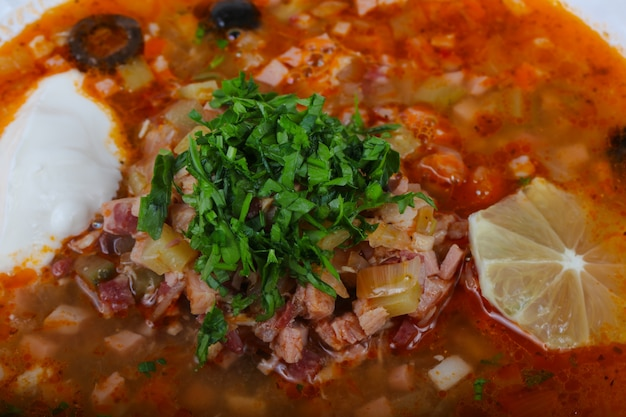 Solyanka mix soup Premium Photo