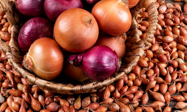 Some of onions with red onions in a basket, shallots Free Photo