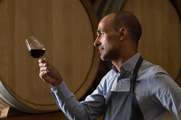 Sommelier checking wine Premium Photo