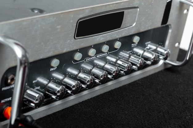 Sound amplifier for connection to microphone and mixer in the recording studio Premium Photo
