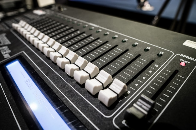 Sound mixer board with button to adjust detail Premium Photo