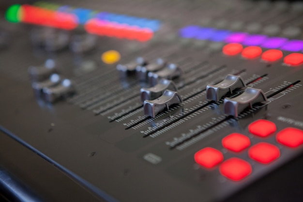 Sound recording studio mixing desk. music mixer control panel Premium Photo