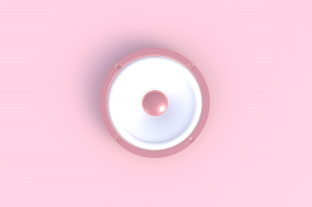 Sound speaker isolated on a pink background, 3d rendering Premium Photo