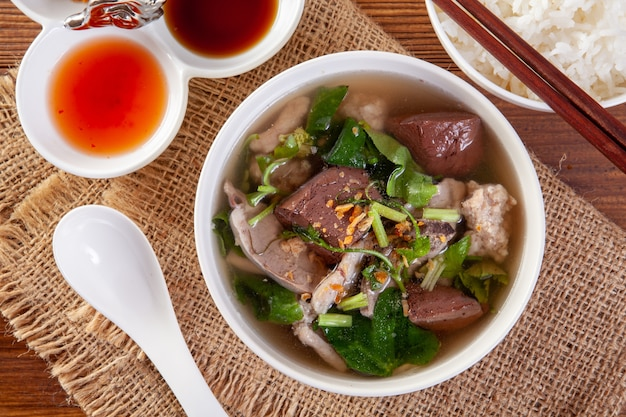 Soup with boiled with pork Premium Photo