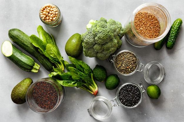Source protein vegetarians top view healthy food clean eating Premium Photo